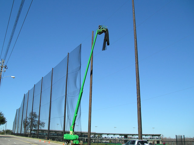 Golf Barrier Netting Installation for TopGolf Dallas