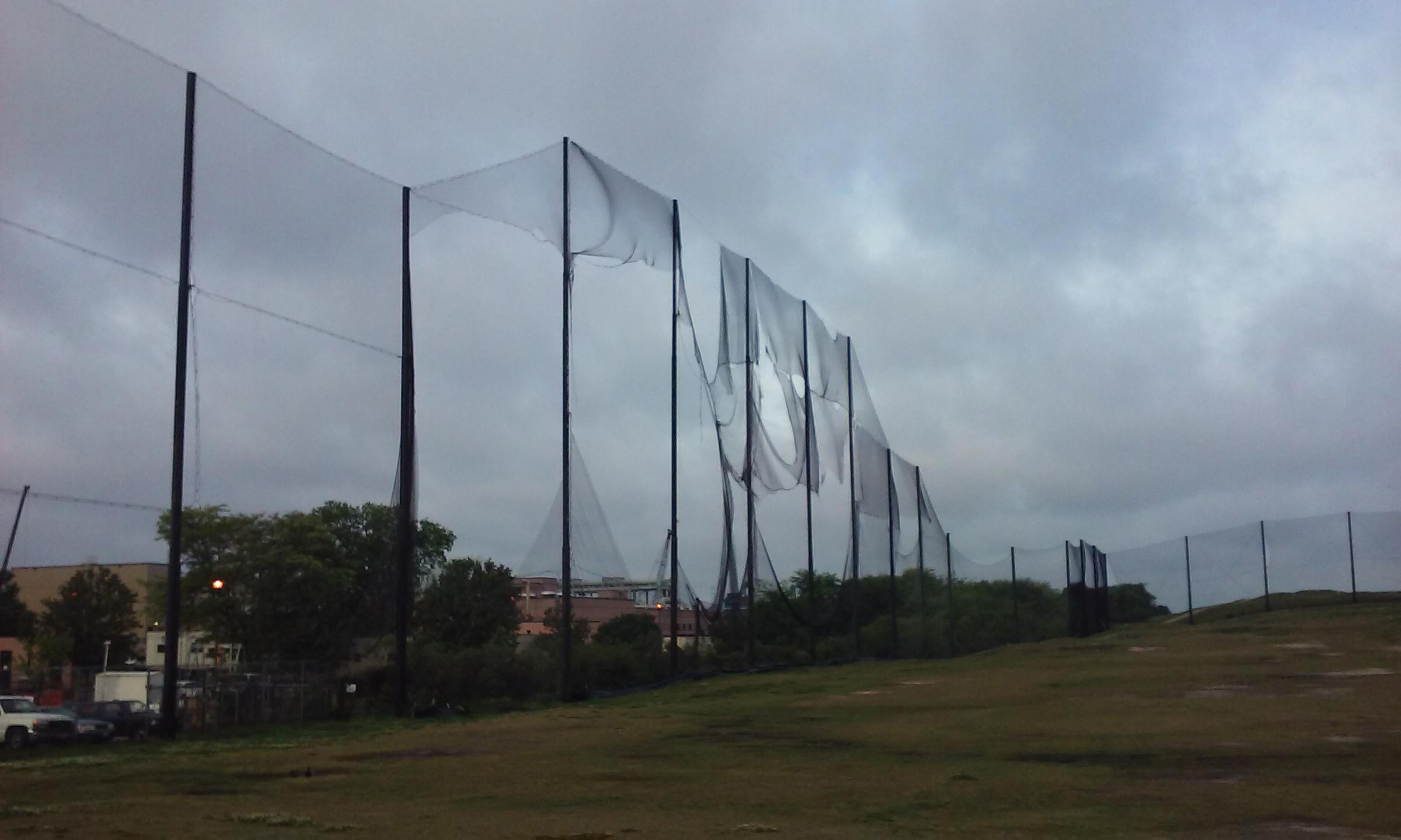 Before Picture Lambert's Point Driving Range Netting Installation